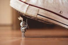 Lego knight under shoe